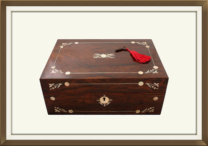 Antique Inlaid Rosewood Jewellery Box