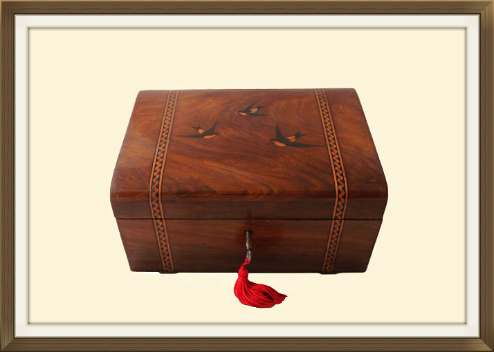 Antique Inlaid Olive Wood Jewellery Box