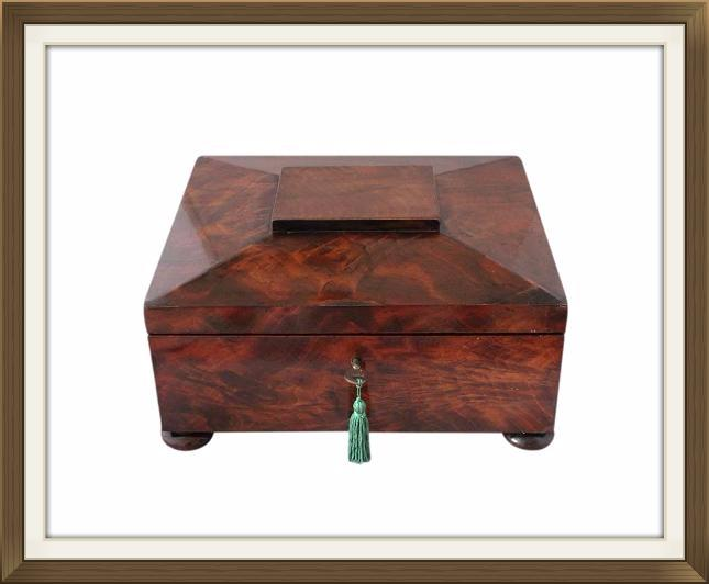 Superb Large Regency Flame Mahogany Jewellery Box