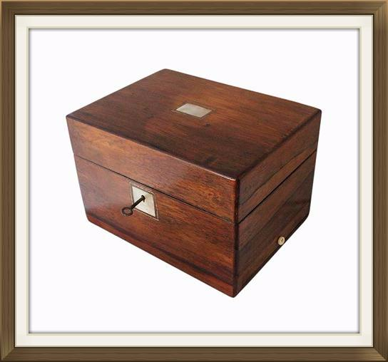 Large Antique Rosewood Jewellery Box With Drawer