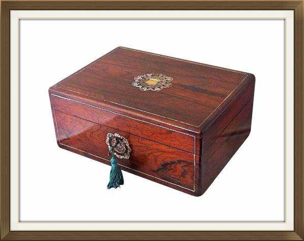 Beautiful Restored Antique Rosewood Jewellery Box
