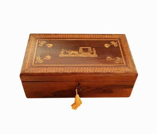 SOLD 1930s Madeiran Marquetry Jewellery Box