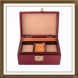 SOLD Burgundy Leather Vintage Jewellery Box