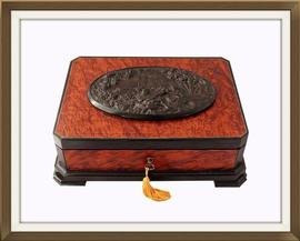 19th C French Exotic Wood Antique Jewellery Box