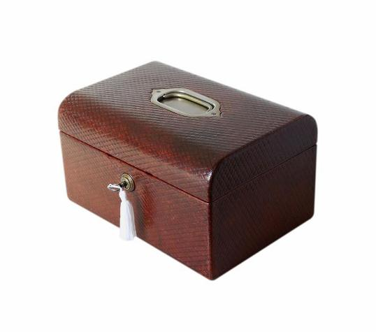 SOLD High Quality Antique Leather Jewellery Box