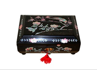 SOLD Exotic Shell Inlaid Antique Jewellery Box