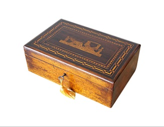 Madeiran Marquetry Inlaid Antique Jewellery Box
