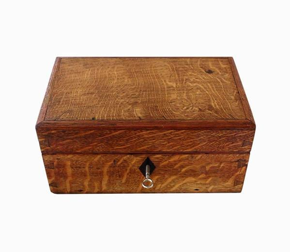 SOLD Velvet Lined Oak Antique Jewellery Box