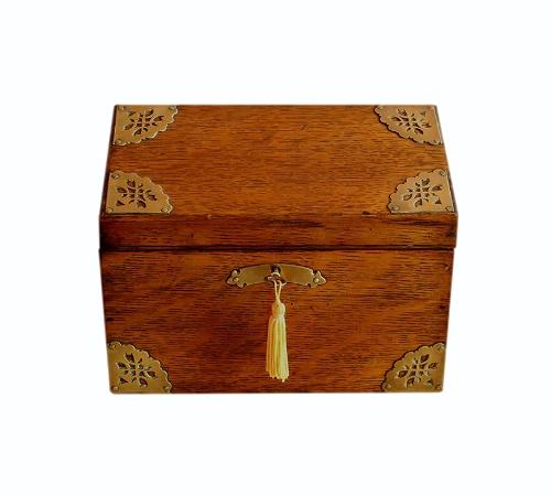 SOLD Refurbished Solid Oak Antique Jewellery Box