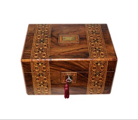 SOLD Victorian Inlaid Walnut Jewellery Box