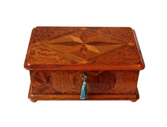 SOLD Stunning Exotic Wood Marquetry Jewellery Box