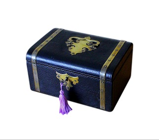 SOLD Antique Leather Box For Jewellery And Notes