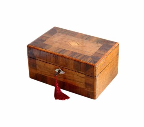 SOLD Antique Mahogany & Walnut Jewellery Box