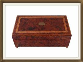 SOLD Mahogany & Walnut Musical Jewellery Box