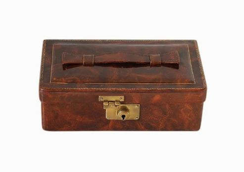 SOLD Small German Art Deco Leather Jewellery Box