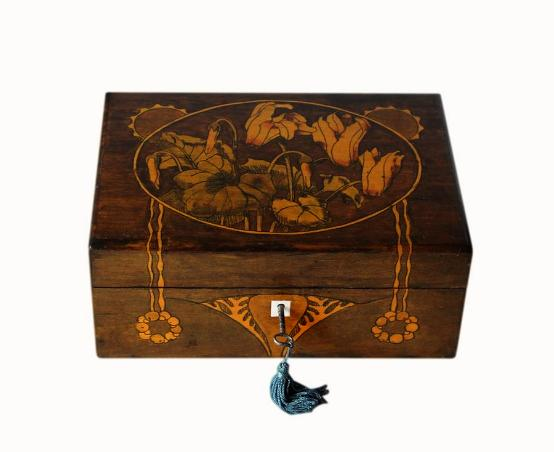 Stunning Hand Painted Art Nouveau Jewellery Box