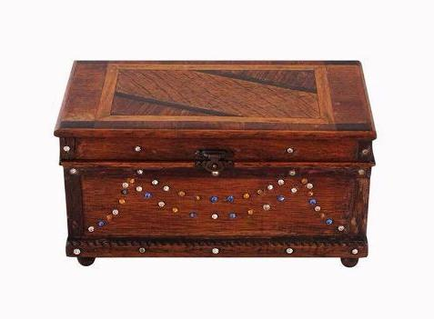 Inlaid Vintage Jewellery Box With Crystals