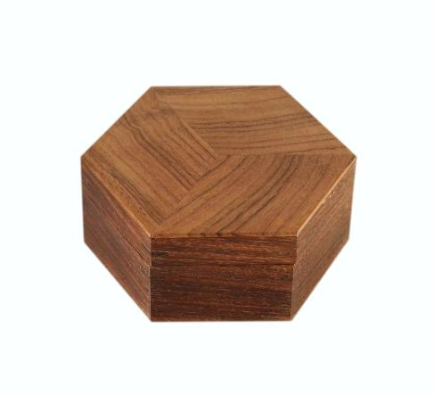 SOLD Small Hexagonal Indian Rosewood Jewellery Box