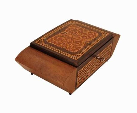 SOLD Italian Inlaid Art Deco Musical Jewellery Box