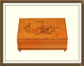 SOLD Vintage Satinwood Musical Jewellery Box