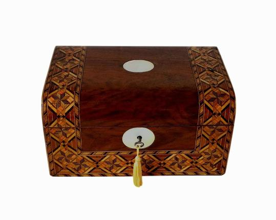 SOLD Antique Inlaid Walnut Jewellery Box