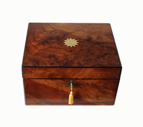 SOLD Antique Walnut Jewellery Box With Drawer