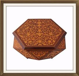 SOLD Hexagonal Inlaid Musical Jewellery Box