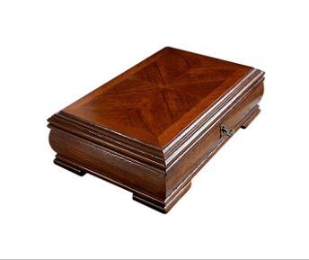 SOLD Large Inlaid Teak Vintage Jewellery Box