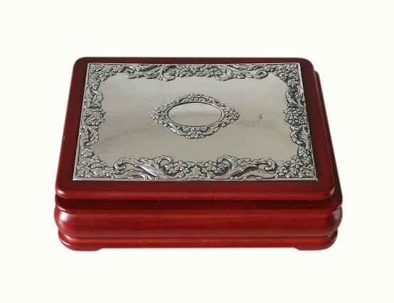 SOLD Red Wood And Sterling Silver Jewellery Box
