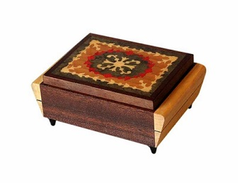 SOLD Marquetry Inlaid Musical Jewellery Box