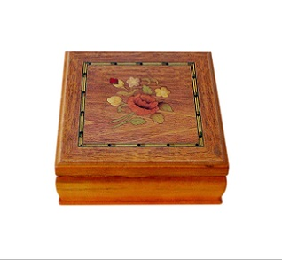 Beautiful Flower Inlaid Jewellery Box With Mirror
