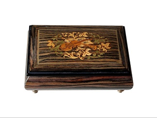 SOLD Exotic Wood Musical Vintage Jewellery Box