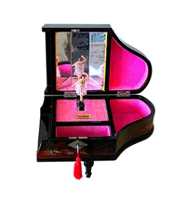 SOLD Vintage Lacquered Musical Jewellery Box