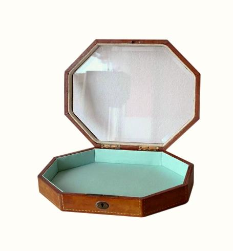 SOLD Octagonal Moroccan Leather Jewellery Box