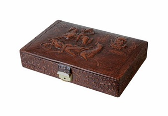 Lined Vintage Tooled Leather Jewellery Box