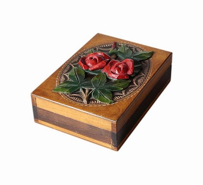 SOLD Handmade Vintage Jewellery Box With Roses