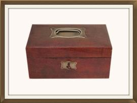 SOLD Lovely Leather Covered Antique Jewellery Box