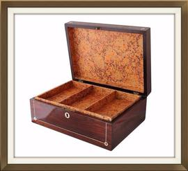 SOLD Beautiful Antique Dark Rosewood Jewellery Box