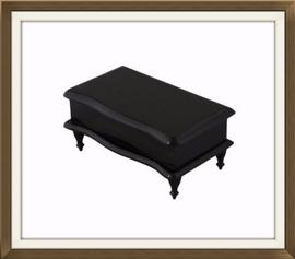 Beautiful Ebony Satin Lined Antique Jewellery Box