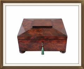 SOLD Large Regency Flame Mahogany Jewellery Box