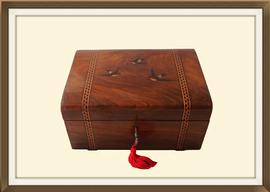 SOLD Antique Olive Wood Inlaid Jewellery Box