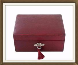 SOLD Maroon Leather Antique Jewellery Box