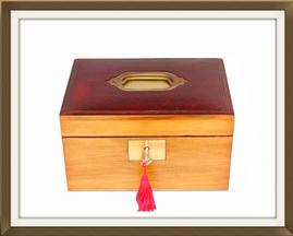 SOLD Antique 2 Tray Pine & Leather Jewellery Box