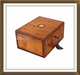 SOLD Satinwood & Mahogany Antique Jewellery Box