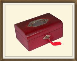 SOLD Small Red Leather Antique Jewellery Box
