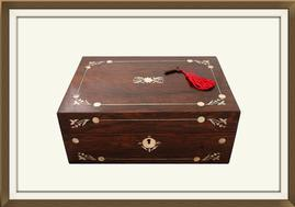 SOLD Rosewood & Mother of Pearl Jewellery Box