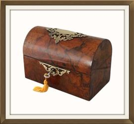 SOLD Domed Antique Burr Walnut Jewellery Box