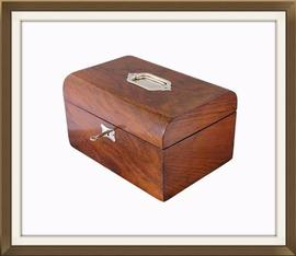 Lovely Large Walnut Veneered Antique Jewellery Box