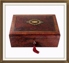 SOLD Inlaid Exotic Wood Antique Jewellery Box