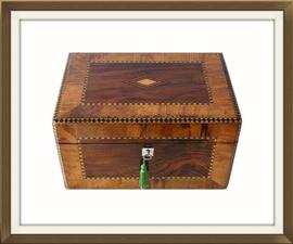 SOLD Walnut And Rosewood Antique Jewellery Box